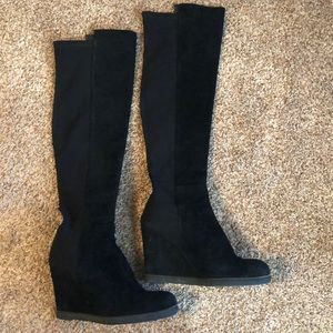 Black knee high suede boots